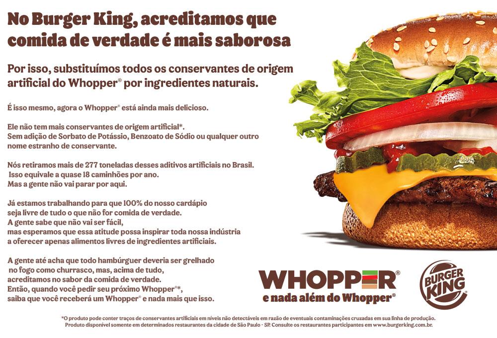 WHOPPER LIVRE DE CONSERVANTES DE ORIGEM ARTIFICIAL